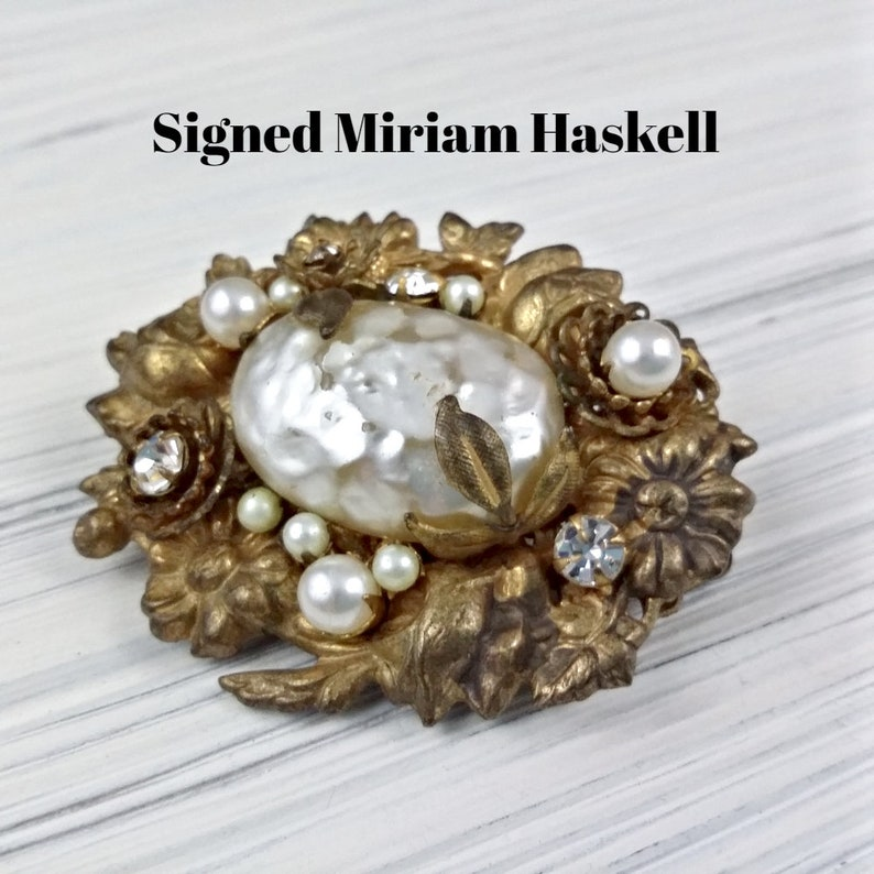 Amazing Rare Bracelet Signed Miriam Haskell Wide Pearl Cuff Crystals Rhinestones Antiques