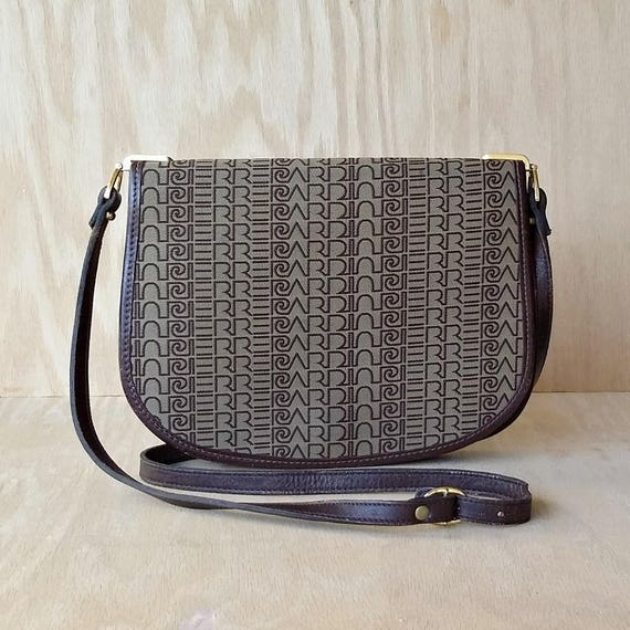 17c06e008a6b7 Brown shoulder bag Small canvas crooss body bag Pierre Cardin