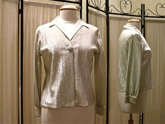 Vintage evening blouse, 1960's-70's, silver metall