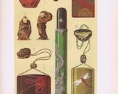 1883 Chromolithograph Japanese Sagemono Netsuke Japanese Medicine Tobacco Box