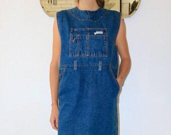 vintage blue denim smock dress