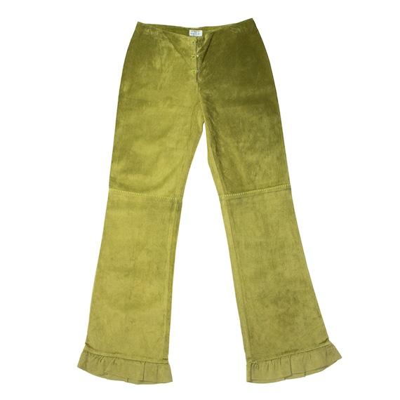 alberta ferretti green suede pants with green stit