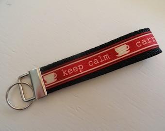 Keep Calm Carry On Key Fob Wristlet