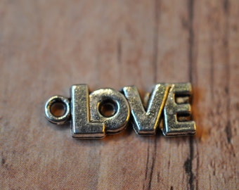 Silver block LOVE charm - 100 pieces