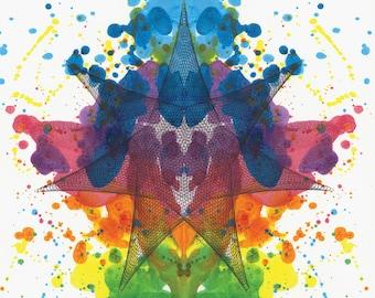Ink Blot Painting, Vibrant Abstract Art, Rainbow Colors Wall Art, Color Spectrum Artwork, Psychology Art 12x12