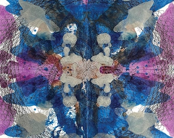 One of a Kind Abstract Painting On Paper, Original Expression Psychedelic Artwork, Blue Purple Silver Offbeat Art 14x14