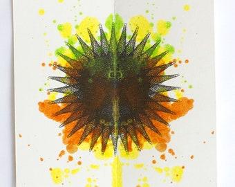 Small Ink Blot Art, Original Abstract Painting, Yellow, Orange, and Black Ink Blob 6x6