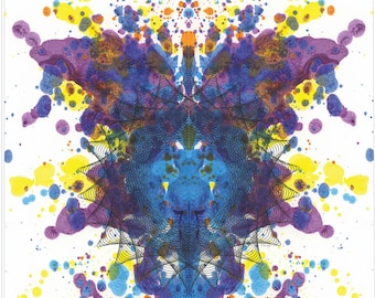 Abstract Ink Blot Painting, Purple and Blue Original Expressionist One of A Kind Artwork, Bold Colors 17 x 14