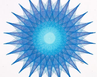 Geometric Blue Abstract Art, Hand Drawn Star, Intricate Line Drawing 11x11