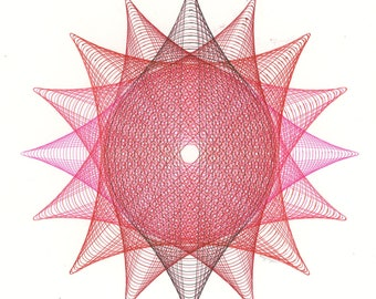 Abstract Geometric Ink Drawing, Red & Pink Spiral Art, Simple Minimal Artwork