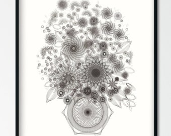Black and White Floral Art Print, Contemporary Abstract Flowers Wall Art, Boho Eclectic Bouquet Drawing Giclee