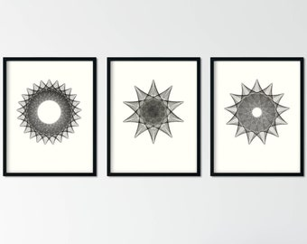 Set of 3 Contemporary Black and White Prints, Geometric Abstract Wall Art, Minimalist Prints