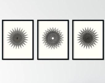 Set of 3 Minimal Black and White Art Prints, Modern Mandala Gallery Wall Set, Abstract Giclee Prints