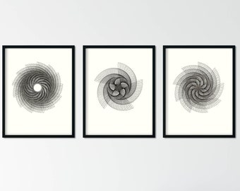 Set of 3 Geometric Black and White Prints, Art Deco Abstract Wall Art, Spiral Gallery Wall Prints