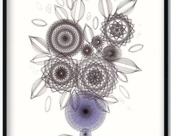 Floral Art Print, Blue & Black Abstract Still Life Wall Art, Modern Farmhouse Outsider Flower Artwork