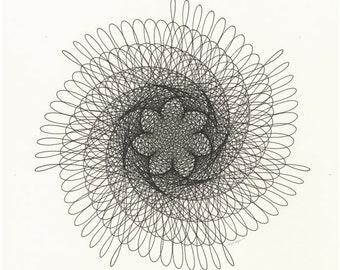 Black Spiral Drawing, Generative Art, Minimalist Original Ink Drawing, Geometric Wall Art 12x12