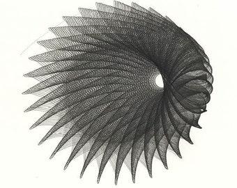 Original Abstract Ink Drawing, Abstract Black Hole, Torus, Generative Minimal Art 16x16