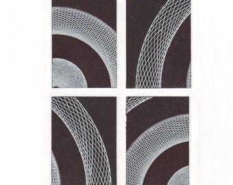 Set of 4 Small Abstract Black & White Drawings, Original ACEO Artworks, Minimal Geometric Miniature Art