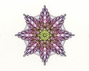 Small Drawing, Purple, Pink, Green & Black Abstract Art, Hand-Drawn Geometric Mandala Wall Art 8x10