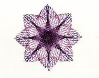Abstract Flower Drawing, Original Art with a Purple & Pink Geometric Motif, Small Wall Art for Gallery Wall 8x10