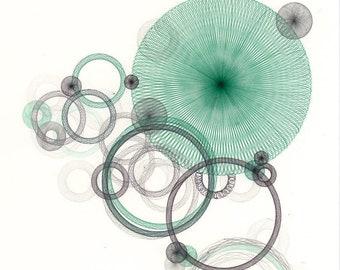 Ethereal Soft Green Offbeat Art Print, Retro Drawing Giclee Print, Organic Freeform Abstract Art Print