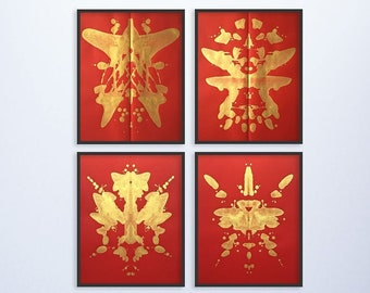Set of 4 Original Ink Blot Paintings, Large Art, Metallic Gold & Red Contemporary Abstract Wall Art