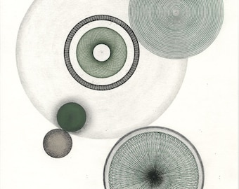 Original Mixed Media, Green Circles Collage & Drawing, One of A Kind Art, Original Abstract Art, Green and Black Geometric, Graphite Drawing