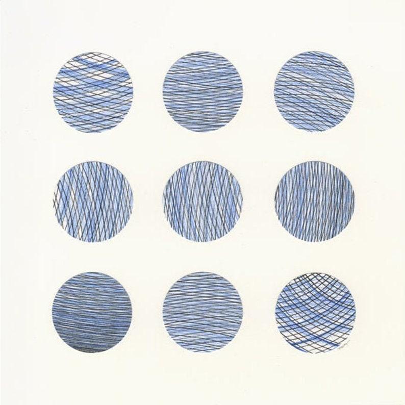 Minimal Collage Original Circle Art Modern Abstract Artwork Blue