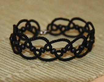 Black tatted bracelet, beaded tatted lace bracelet