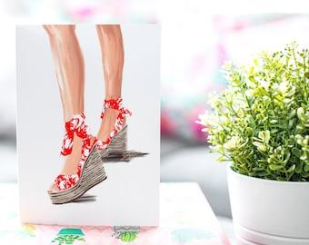 Summer Sandal Red-Fair Skin Tone Fashion Card