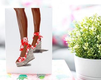 Summer Sandal Red-Dark Skin Tone Fashion Card