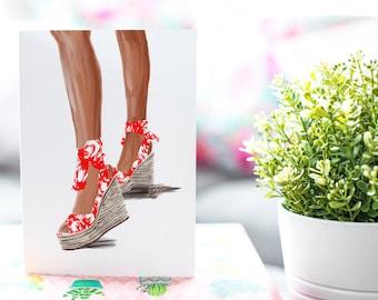Summer Sandal Red-Brown Skin Tone Fashion Card
