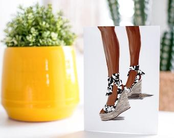 Summer Sandal B.W-Dark Skin Tone Fashion Card