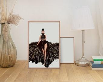Runway Fashion Illustration - Fair Skin Tone - DIGITAL DOWNLOAD