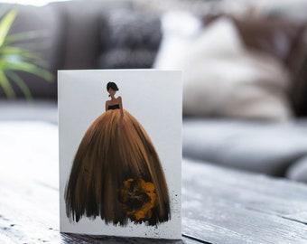 Halloween Ball Gown - Dark Skin Tone, 5x7 Folded Cards