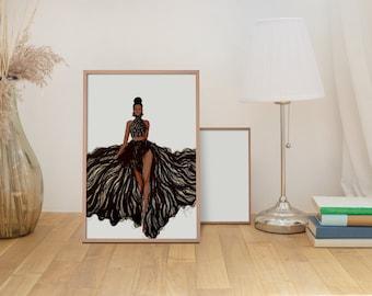 Runway Fashion Illustration - Dark Skin Tone