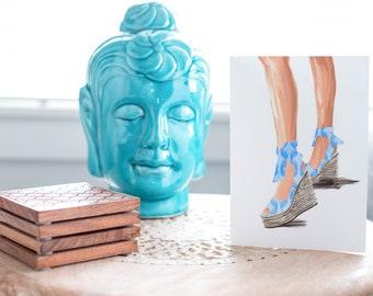 Summer Sandal Blue-Fair Skin Tone Fashion Card