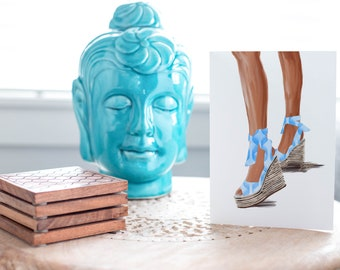 Summer Sandal Blue-Brown Skin Tone Fashion Card