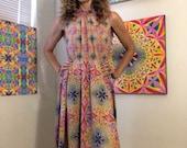 Ruched neckline flowing dress