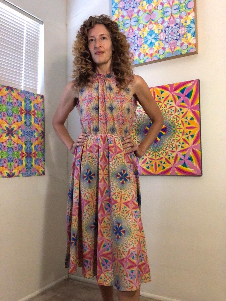 Ruched neckline flowing dress image 1