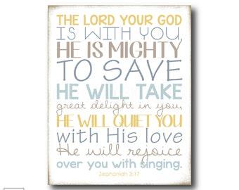 Mighty to Save | Zephaniah 3:17 - Christian Art Print