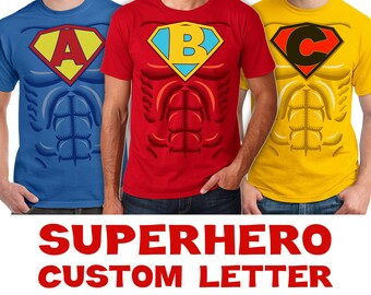 Superhero Custom Letter Costume & Muscle Shirts