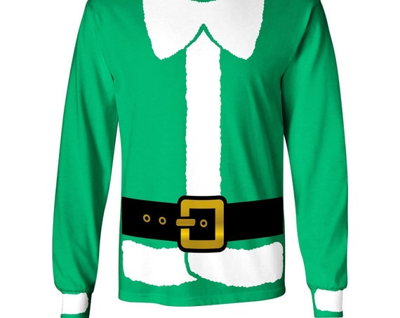 Green or Red Christmas Elf Costume Long Sleeve T-shirt (Available in All Sizes)