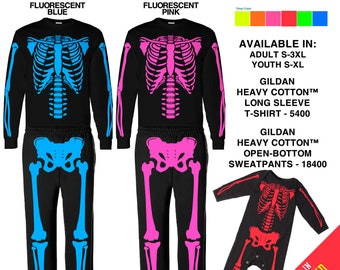 FLUORESCENT Colors Skeleton Costumes in Yellow, Green, Pink, Orange, Blue & Coral Red