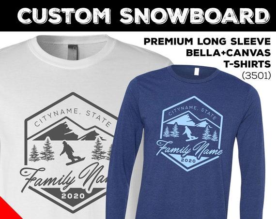 Custom Snowboarding Trip Long Sleeve Shirts. Snowboard Trip Shirts for 2020