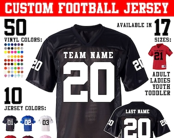CUSTOM Football Jersey with custom back and numbered sleeve numbers.