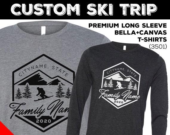 Custom Snow Ski Trip Long Sleeve Shirts. Snow Skiing Trip Shirts for 2020