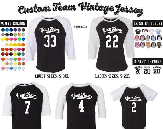 CUSTOM Raglan - Team or Family Vintage Baseball Jerseys with Your Name & Number