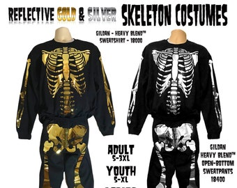 Reflective Gold and Silver Skeleton Halloween Costumes