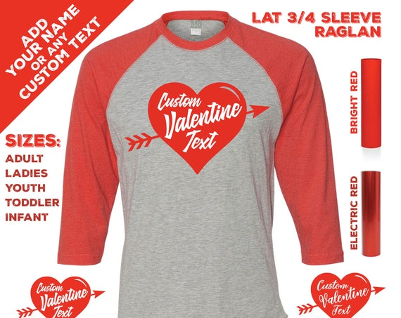 Valentine's Day Heart Vintage T-shirts with Custom Text or Name on a 3/4 Sleeve Raglan Jersey